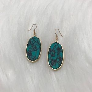 NWT Oval Cracked Turquoise Dangle Earring
